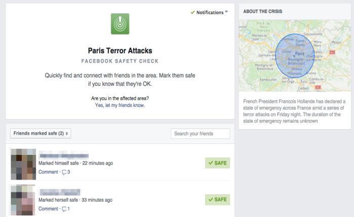 เช็คความปลอดภัยของเพื่อนคุณในปารีสได้จาก Safety Check บน Facebook