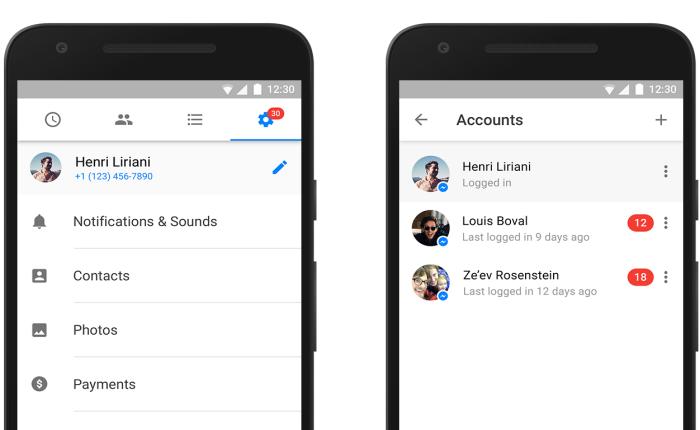 Facebook Messenger เปิดให้แอนดรอยด์ ล็อคอิน ได้หลายบัญชีพร้อมกัน