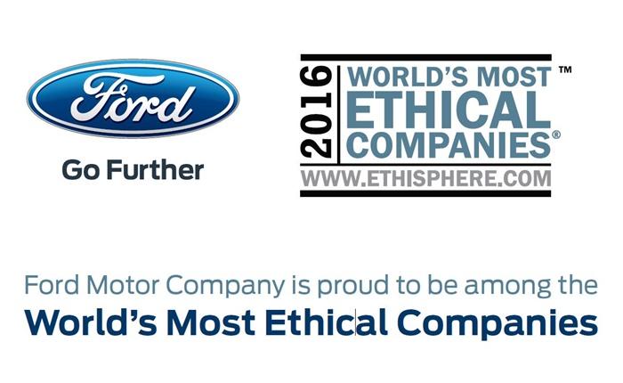 ฟอร์ดเป็นบริษัทรถยนต์เพียงแห่งเดียวที่คว้ารางวัลองค์กรที่มีจริยธรรมสูงสุดของโลกประจำปี 2016
