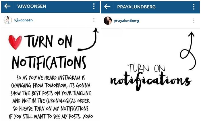 ดาราตื่นตัว IG ปรับอัลกอริทึมใหม่ รีบโพสต์แนะนำให้ #TurnOnNotifications