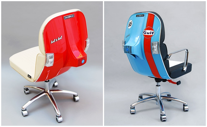 """ฮิปสเตอร์มีกรี๊ด! เปลี่ยนหน้ารถ """"เวสป้า"""" สุดคลาสสิค ให้เป็นเก้าอี้ทำงาน"""