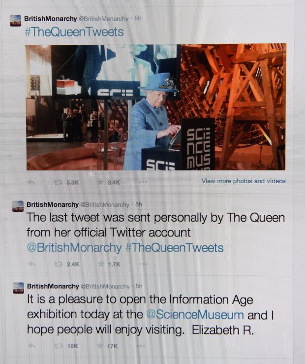 London, UK. 24th Oct, 2014. Queen sends her first Twitter message from the Science Museum in London, Britain, UK 24th October, 2014   © Dorset Media Service/Alamy Live News