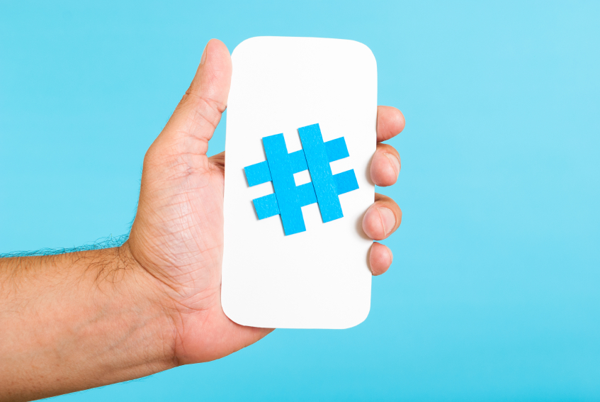 Mobile hashtag vertical concept