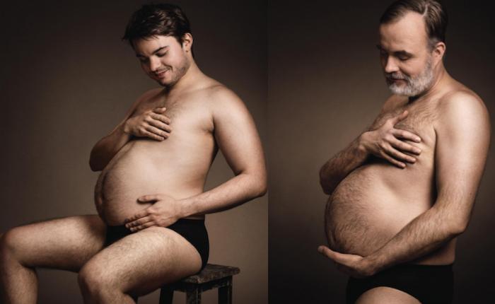 """""""ผู้ชายท้องได้"""" ภาพโฆษณาโชว์สายใยรักระหว่างหนุ่มๆ และเบียร์โปรด"""