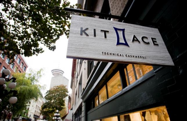 A sign hangs outside the Kit and Ace flagship store in Vancouver