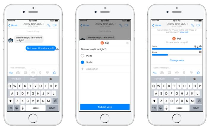 Facebook Messenger เพิ่มฟีเจอร์ใหม่ Polls และ Payment