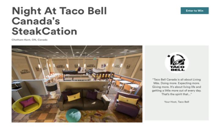 Taco Bell ร่วมกับ Airbnb เปิดห้องพักให้คนมาจองนอนและกินสเต็กฟรีๆ
