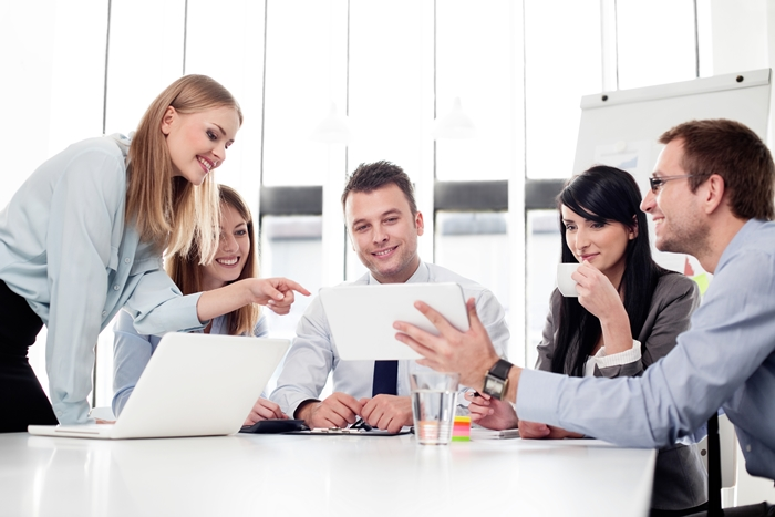 Group of business people working at office