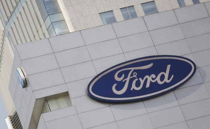 A Ford logo is pictured at a store of the automaker, in Mexico City