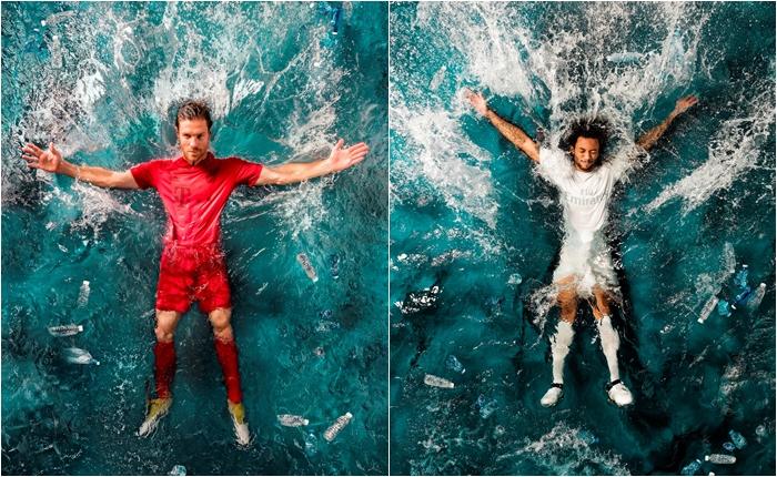 """Adidas ลุยออกสินค้าอนุรักษ์ธรรมชาติ ผลิตเสื้อกีฬาทำจากพลาสติกรีไซเคิล 100% """"เรอัล มาดริด-บาเยิร์น"""" นำไปใช้แข่งจริง"""