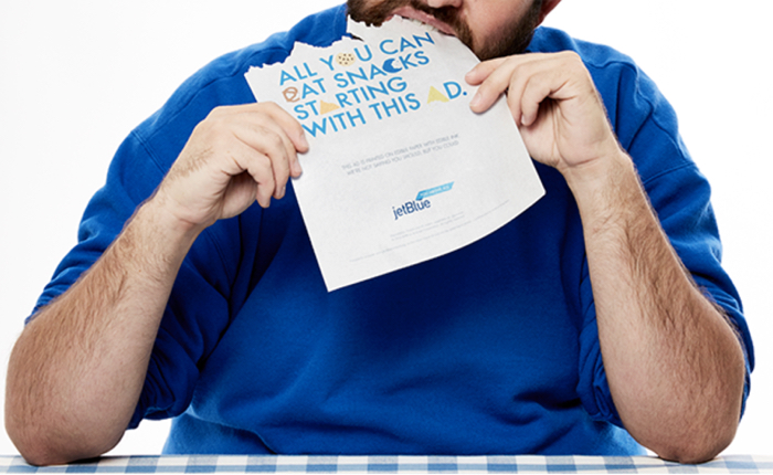 Jetblue ส่งโฆษณากินได้โปรโมทบริการแจกของว่างตลอดไฟลท์