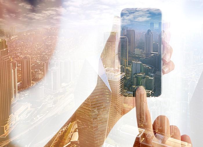 Using smart phone double exposure