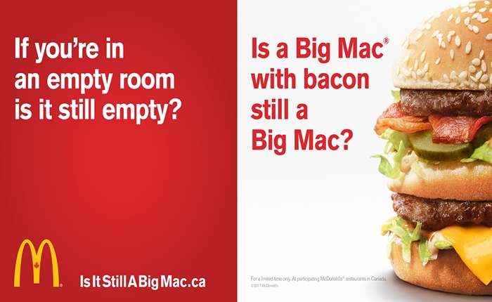 "McDonald's ตั้งคำถามโลกแตก ""ถ้า Big Mac เพิ่มเบคอนเข้าไปจะยังเรียกว่า Big Mac ได้อยู่หรือไม่ ?"""