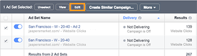 3 Click Edit to edit the campaigns