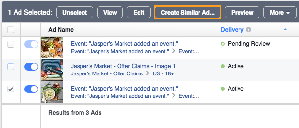 3 In the grey bar, select Create Similar Ad