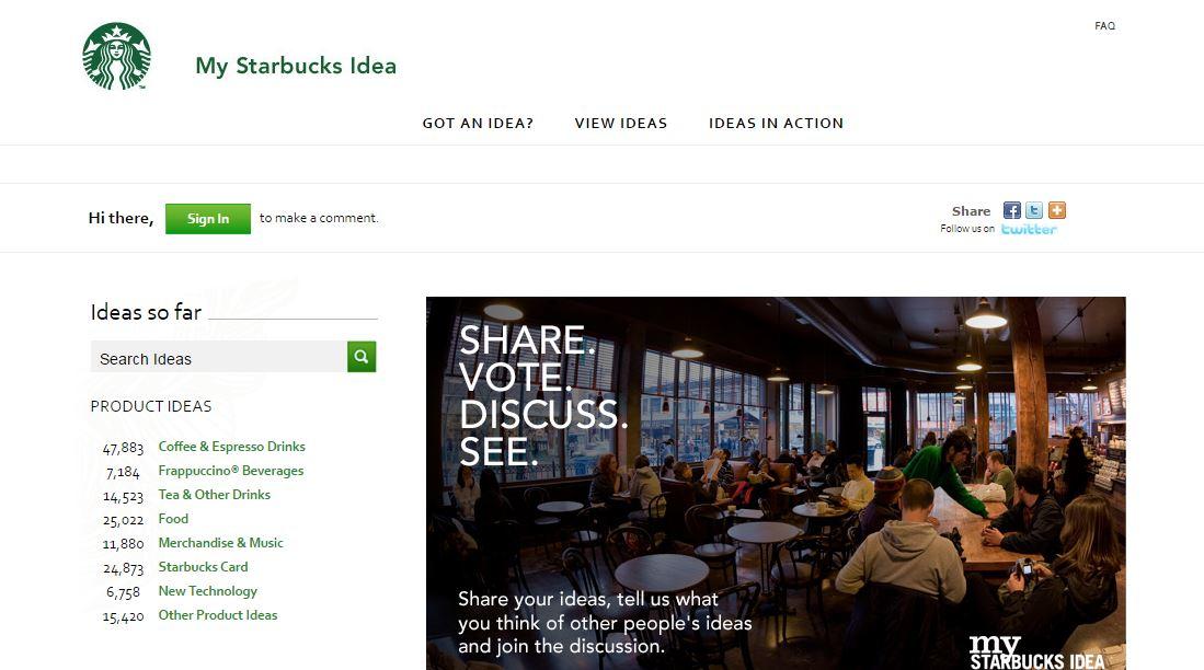 หน้าตาของแพลตฟอร์ม My Starbucks Idea