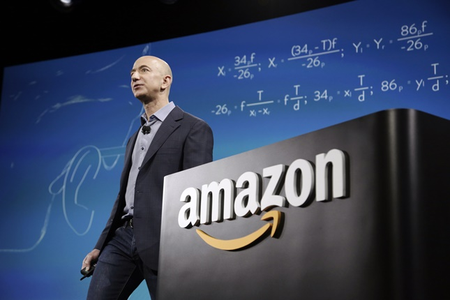 Amazon CEO Bezos discusses his company's new Fire smartphone in Seattle, Washington