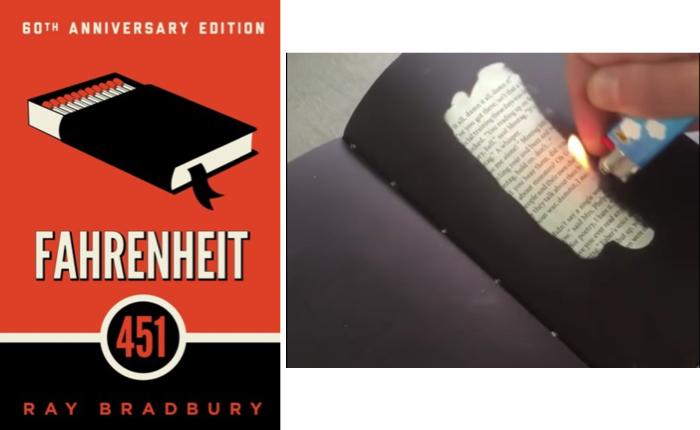 """สำนักพิมพ์ใช้เทคนิคพิเศษ กระดาษทนไฟ โปรโมทนิยายคลาสสิกอย่าง """"Fahrenheit 451″"""
