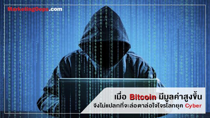 เมื่อ Bitcoin มีมูลค่าสูงขึ้น จึงไม่แปลกที่จะล่อตาล่อใจโจรโลกยุค Cyber