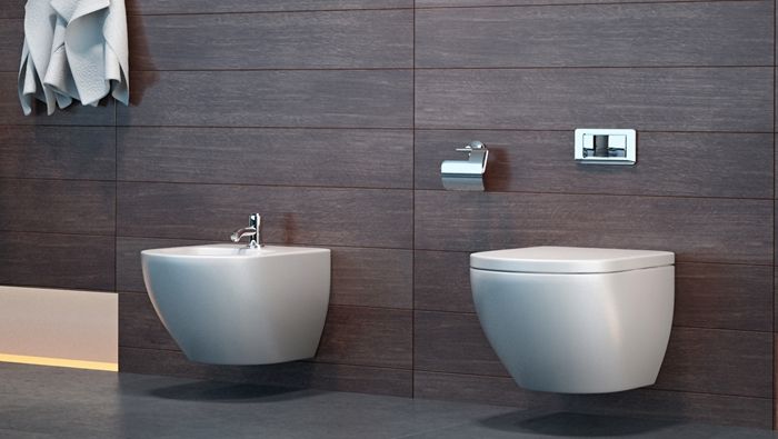 Bathroom with wooden panel wall