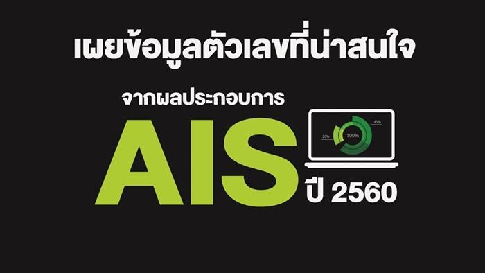 AIS ประกาศผลประกอบการปี 2560 ลูกค้า 4G คิดเป็น 46% ของฐานลูกค้า  กำไรสุทธิ 30,077 ล้านบาท และจ่ายปันผล 3.57 บาท ต่อหุ้น