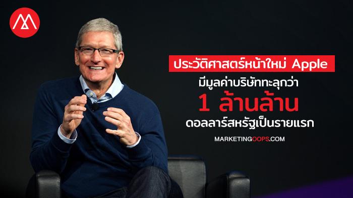 ประวัติศาสตร์หน้าใหม่ Apple มีมูลค่าบริษัททะลุกว่า 1 ล้านล้านดอลลาร์สหรัฐเป็นรายแรก